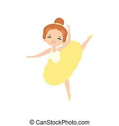 carino, poco, ballo, ballerina, ballerino, tutu, carattere, balletto, giallo, vettore, illustrazione, ragazza, bello, vestire