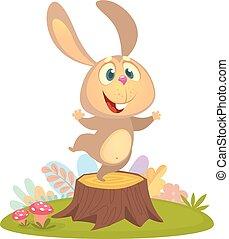 carino, poco, ballo, coniglio coniglietto, cartone animato
