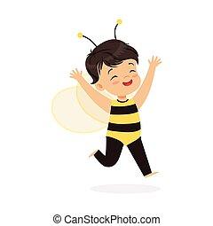 carino, poco, bambini, carnevale, vestito, ape, illustrazione, vettore, costume, ragazza, felice