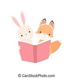 carino, poco, bello, coniglio, volpe, libro, illustrazione, coniglietto, vettore, cucciolo, caratteri, adorabile, bianco, lettura, cucciolo, cartone animato, migliori amici
