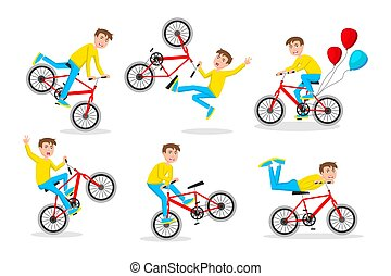 carino, poco, bicicletta, fondo, ragazzo, illustrazione, motociclista, vector., sentiero per cavalcate, bianco, sport