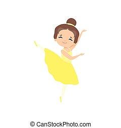 carino, poco, brunetta, ballo, ballerina, ballerino, tutu, carattere, balletto, giallo, vettore, illustrazione, ragazza, vestire