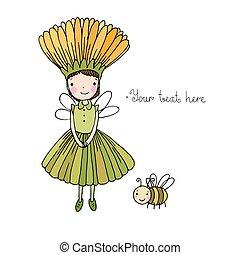 carino, poco, bumblebee., fata