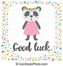 carino, poco, buono, poster., motivazionale, quote., mano, inspirational, disegnato, luck., lettering., panda