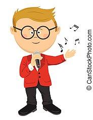 carino, poco, canta, ragazzo, microfono, nerd, occhiali