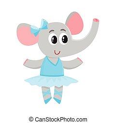 carino, poco, carattere, balletto, tutu, ballerino, elefante, gonna