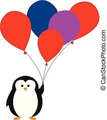 carino, poco, colorito, colorare, illustrazione, vettore, tenere bambino, palloni, o, pinguino