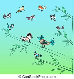 carino, poco, famiglia, natura, albero, fondo, uccelli