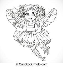 carino, poco, fata, ragazza, in, lussureggiante, vestire, con, uno, bacchetta magica, delineato, per, coloritura, isolato, su, uno, sfondo bianco