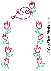 carino, poco, fiori, cornice, uccello