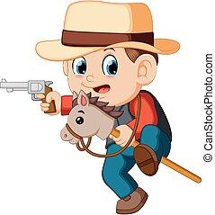 carino, poco, giocattolo, ragazzo, cavallo, gioco, bastone, pistole