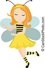 carino, poco, illustration., appartamento, fondo., isolato, bee., ape, carnevale, vettore, costume, bambino, bianco, style., ragazza, cartone animato, icona