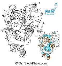 carino, poco, inverno, fata, ragazza, con, uno, bacchetta magica, colorare, e, delineato, immagine, per, libro colorante, su, uno, sfondo bianco