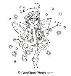 carino, poco, inverno, fata, ragazza, con, uno, bacchetta magica, delineato, immagine, per, coloritura, isolato, su, uno, sfondo bianco