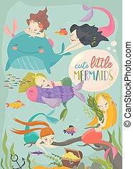 carino, poco, mermaids., mare, sotto, cartone animato, scheda