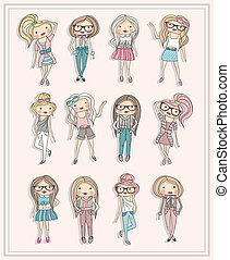 carino, poco, moda, ragazze