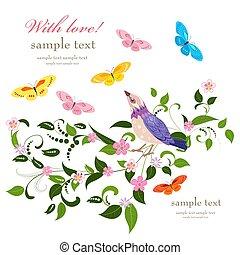 carino, poco, molto, uccelli, disegno, invito, tuo, scheda, bello