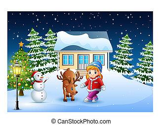 carino, poco, nevoso, casa, cervo, natale, fronte, ragazza, giorno