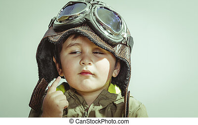 carino, poco, pace, vestito, guerre, ragazzo, occhiali protezione, bambino, casa, bambino primi passi, cappello, gioco, militar