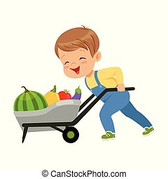 carino, poco, pieno, ragazzo, verdura, spinta, carattere, illustrazione, vettore, fondo, carriola, bianco
