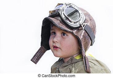 carino, poco, pilot., conveniente, equipaggiamento, bambino, cappello pilota, fare un sogno, occhiali