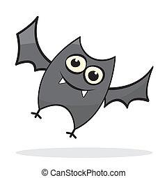 carino, poco, pipistrello, cartone animato