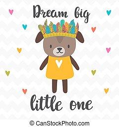 carino, poco, poster., grande, motivazionale, quote., one., mano, inspirational, disegnato, cucciolo, lettering., sogno