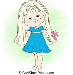 carino, poco, ragazza fiore, illustrazione