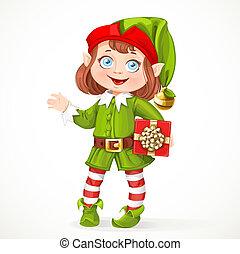 carino, poco, santa, regalo, elfo, stare in piedi, fondo, ragazza, bianco
