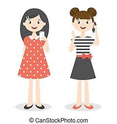 carino, poco, smartphones, ragazze, due, illustrazione, vettore
