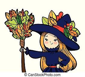 carino, poco, strega, con, uno, broom.