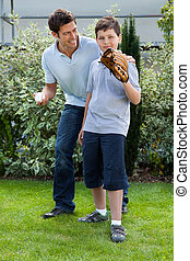 carino, poco, suo, ragazzo, padre, baseball, gioco