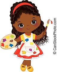 carino, poco, tavolozza artista, vernice, americano, vettore, africano, brush., ragazza