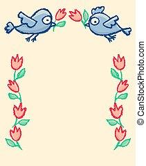 carino, poco, uccelli, cornice