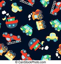 carino, poco, veicoli, seamless, modello