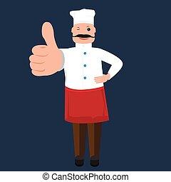 carino, pollice, esposizione, chef, vettore, cuoco, uomo