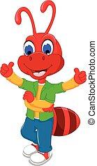 carino, pollice, formica, cartone animato, rosso