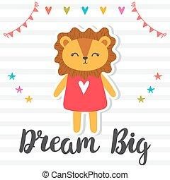 carino, poster., sogno, motivazionale, quote., mano, leone, big., inspirational, disegnato, lettering.