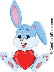 carino, presa a terra, coniglio, cappello, cartone animato, rosso
