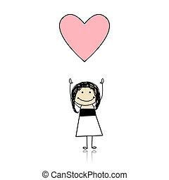 carino, presa a terra, cuore, -, santo valentino, ragazza, giorno