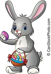 carino, presa a terra, uova, coniglio, cesto, cartone animato