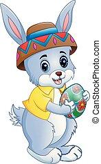 carino, presa a terra, uovo, coniglio, pasqua, cartone animato