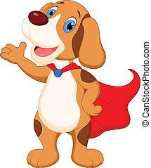 carino, presentare, cartone animato, cane, super