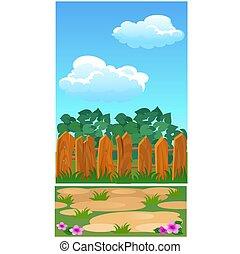 carino, primo piano, illustration., recinto, legno, manifesto, parco, casa, o, vettore, paese, cottage., cartone animato
