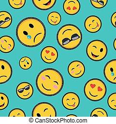 carino, progetta, emoji, seamless, modello