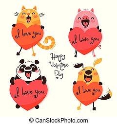 carino, progetta, set, amore, valentines., divertente, cane, gatto, confessare, valentines, maiale, isolato, illustrazione, giorno, vettore, animali, panda, you.