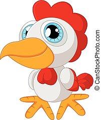 carino, proposta, cartone animato, gallo