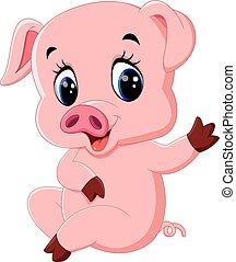 carino, proposta, cartone animato, maiale