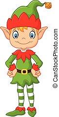 carino, proposta, cartone animato, natale, elfo