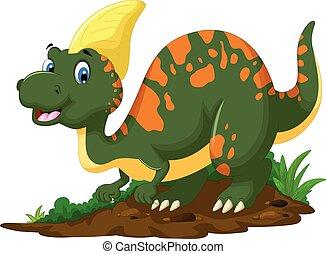 carino, proposta, cartone animato, parasaurolophus